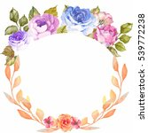 watercolor floral frame | Shutterstock . vector #539772238