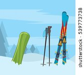 snowboard with strap in... | Shutterstock . vector #539773738