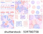 Set Of 6 Hand Drawn Seamless...