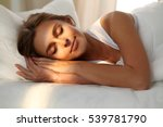 beautiful young woman sleeping... | Shutterstock . vector #539781790