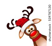 funny reindeer on white... | Shutterstock . vector #539787130