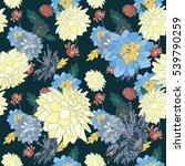 dahlia flower seamless vector... | Shutterstock .eps vector #539790259