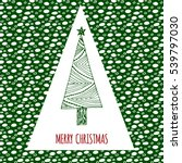 merry christmas doodle card.... | Shutterstock .eps vector #539797030