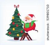 santa claus decorating tree... | Shutterstock . vector #539801710