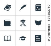 set of 9 simple education icons.... | Shutterstock .eps vector #539803750