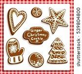 christmas gingerbread cookies... | Shutterstock .eps vector #539804800