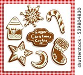 christmas gingerbread cookies... | Shutterstock .eps vector #539804830