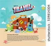 travel bag on the beach with... | Shutterstock .eps vector #539814304
