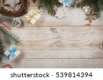 top view on wooden table with... | Shutterstock . vector #539814394