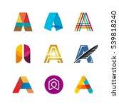 letter a logo set. color icon... | Shutterstock .eps vector #539818240