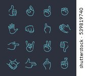 hand gestures thin line icon set | Shutterstock .eps vector #539819740