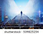 businessman climbing stairs to... | Shutterstock . vector #539825254