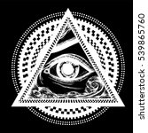 all seeing eye pyramid symbol... | Shutterstock .eps vector #539865760