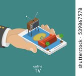 online tv flat isometric vector