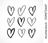 set of nine hand drawn heart.... | Shutterstock .eps vector #539872669