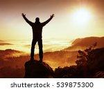 autumnal  misty morning in... | Shutterstock . vector #539875300