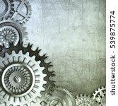 3d metallic gears background | Shutterstock . vector #539875774