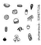 black and white foods doodle art | Shutterstock .eps vector #539877136