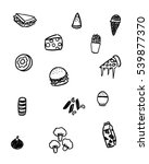 black and white foods doodle art | Shutterstock .eps vector #539877370