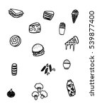 black and white foods doodle art | Shutterstock .eps vector #539877400