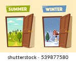 open door. winter and summer.... | Shutterstock .eps vector #539877580