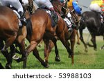 Stock photo a field of horses and jockeys during a race 53988103
