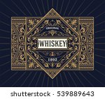 Stock vector vintage shield for whiskey packing 539889643