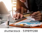 man hands using laptop and... | Shutterstock . vector #539899288