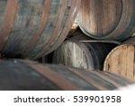 Old Rusty Oak Barrels In Cella...