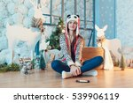 beautiful girl sitting on the... | Shutterstock . vector #539906119