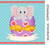 easter elephant inside egg with ... | Shutterstock .eps vector #539909410