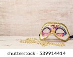 mardi gras mask and beads for... | Shutterstock . vector #539914414