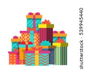 big pile of colorful wrapped... | Shutterstock .eps vector #539945440