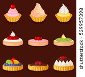 set of cakes and desserts.... | Shutterstock .eps vector #539957398