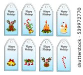 set of eight vector holiday... | Shutterstock .eps vector #539972770