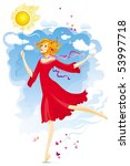 young woman at the sunny summer ... | Shutterstock .eps vector #53997718
