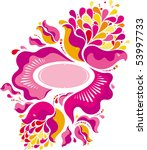pink floral ornament in old... | Shutterstock .eps vector #53997733