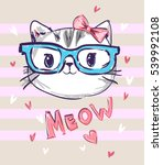 Cute Cat Sketch Vector...