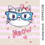 cute cat sketch vector... | Shutterstock .eps vector #539992108