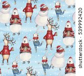 seamless watercolor christmas... | Shutterstock . vector #539992420