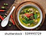thai food chicken green curry... | Shutterstock . vector #539995729