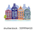 watercolor amsterdam... | Shutterstock . vector #539996410