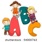 Children with ABC - Vector - stock vector