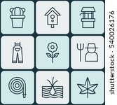 set of 9 plant icons. includes... | Shutterstock .eps vector #540026176