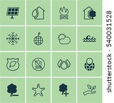 set of 16 ecology icons.... | Shutterstock .eps vector #540031528