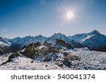 Small photo of Panoramic view on Alps. Winter mountains in Les deux Alpes, France