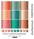 set of bronze  peach  emerald... | Shutterstock .eps vector #540054154