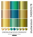 set of emerald and gold... | Shutterstock .eps vector #540054178