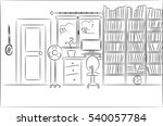 home interior with bookcase and ... | Shutterstock . vector #540057784