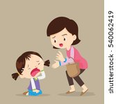 cute girl crying and her mother ... | Shutterstock .eps vector #540062419